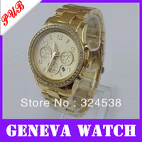 Unisex Complete Calendar Quartz-Battery Free dropshipping fashion alloy metal geneva watch,hot color with crystal,Japan imported PC21 quartz movement