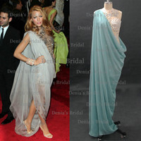 Wholesale Gossip Girl Blake Lively Sheath Sheer Celebrity Dresses with Beaded Bodice and Asymetrical Chiffon Cover Dhyz buy get free necklace