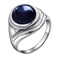 Wholesale Flammable volcano Natural Sapphire Ring Mens Sterling Silver Men s Ring luxury domineering temperament