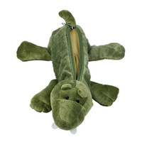 Wholesale Vogue Adorable Green Crocodile Pencil Pen Case Bag Chic Soft Plush Cosmetic Makeup Bag ZFM9