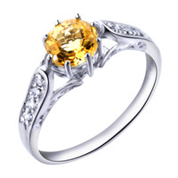 Band Rings Natural crystal / semi-precious stones Citrine Flammable volcano Natural Citrine Ring female Korean influx of people ring sterling silver jewelry natural stones