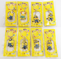 Wholesale Best Promotion Gifts Despicable Me2 Minions Action Figure Keychain Keyring Key Ring Design Cute DHL Fedex