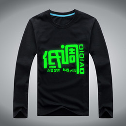 Wholesale Spot long sleeved t shirt men long sleeve fashion lovers luminous fluorescent long sleeved T shirt big yards Men behalf of the consignor