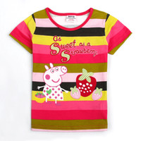 Wholesale K4043 On sale m y baby girls t shirt Peppa Pig tops for girls cotton summer stripy tee shirts pieces per fast delivery