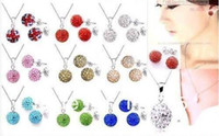 Wholesale jewelry sets Mix Color Free Shamballa Jewelry Set mm CZ Disco Pave Crystal Ball Pendant Necklace Stud Earrings