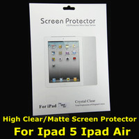 Wholesale Screen Protector For Ipad Ipad Air High Clear Matte Anti glare LCD Screen Film Guard Protection with cloth with Retail Package NEW Arrival