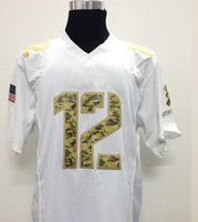 2013 3 Rodgers #12 Salute to Service Game Jersey White Footb...