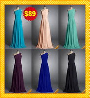 Wholesale Actual Image Fashion Turq Royal Blue Coral Black One shoulder Chiffon Long Cheap HOT Bridesmaid Dresses Evening Formal Prom Party Dress Gown