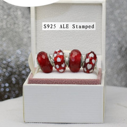 S925 Sterling Silver Stamped Red Faceted and Heart Murano Glass Beads Charm Jewelry Set Fit European Pandora Style Jewelry Bracelet EN028