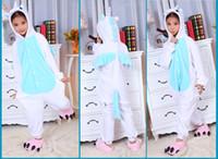 Wholesale Pink Blue Unicorn Pony Horse Kids Onesies Onesie Pajamas Kigurumi Jumpsuit Hoodies Sleepwear For Children no claw Welcome Order