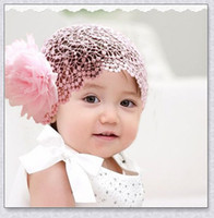 Cheap Baby Girls Crochet Costume Outfits Handmade Knit Headband Hat Beanie Flower Hair Band LACE ELASTIC For Children Wedding Items