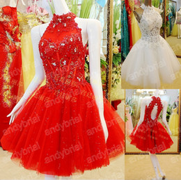 Wholesale New Arrival Graceful Beads A Line High Neck Tulle and Lace Short Mini Prom Party Cocktail Gowns Homecoming Dresses