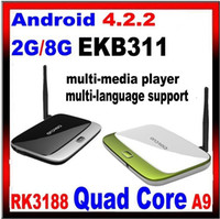 Wholesale Latest MK888 K R42 CS918 Bluetooth Android Google Smart TV BOX RK3188 Quad Core Mini PC Dongle GB RAM GB External WIFI Antenna XBMC