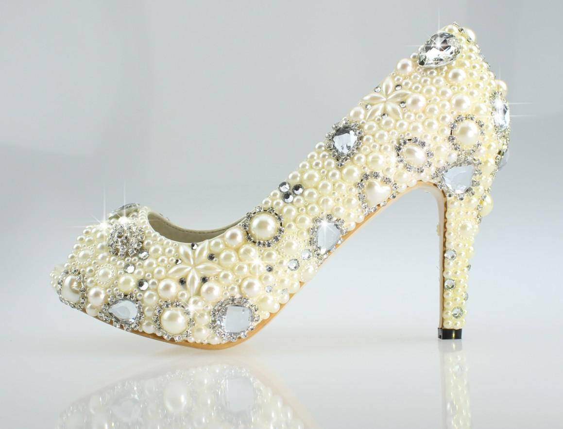 custom design ivory bridal shoes with swarovski crystal and pearls peep toe buy wedding shoes colorful wedding shoes from zhongxian8 16583 dhgatecom