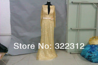 Model Pictures V-Neck Organza 2014 Elie Saab Couture Gold Sexy Deep V Neck Long Sleeves Full Handmade Shiny Beads Floor Length Formal Evening Dress Prom Gown