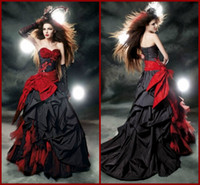 A-Line red and black wedding dresses - Sexy Vintage Black and Red Gothic Wedding Dresses Taffeta Bow A line Floor Length Bridal Gowns