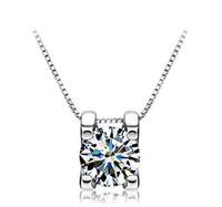 Wholesale Brand Jewelry Lady s Clear Round Crystal White Sapphire Gemstone Pendant Silver Necklace