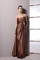 Wholesale 2014 new arrival strapless ruched bodice satin bridesmaid dresses empire waist evening dresses gown with ribbon and brooch LR1635