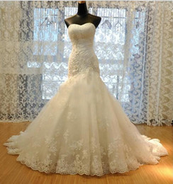 Wholesale 2014 NEW Empire Wedding Dresses New Wedding Dress Tulle Strapless Straight Neckline Lace Empire Bow Beaded Mermaid Bridal Gown