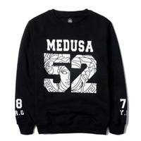 Wholesale 2013 New Men Round collar hoodies Medusa Big Letter Printed Sweatshirts Long Sleeves Hip hop Black Pullover A36