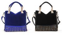 Wholesale PU leather zipper Shoulder bag Women Handbags fashion riveting flannel Rivet metal Bottom Duffel Tote