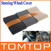 Wholesale Popular DIY Car Steering Wheel Cover Artificial Leather Hand Sewing with Needle and Thread Black Beige Gray for choice Brand New K993B K993G
