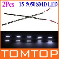 Wholesale 2Pcs set LED SMD Vehicle Auto Light Car White Light led decoration Strip V Drop shipping K946W