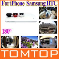 Wholesale Detachable Magnetic Degree Telephoto Fisheye Lens Fish Eye for iPhone S Samsung HTC Mobile Phones Black Red Silver PA1530