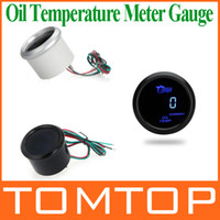 Wholesale Digital Oil Temp Temperature Meter Gauge with Sensor for Auto Car mm in LCD Celsius Degree Warning Light Black Sliver K972B K972S