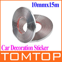 Wholesale 10mmx15m Car Auto Decoration Sticker Car Chrome Styling Moulding Trim Strip Auto Body Window Exterior Decoration stickers K896