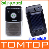 Wholesale Solar powered Wireless Bluetooth Hands Free Car Kit Handsfree calls Speakerphone for iPhone HTC Samsung CE FCC K1012