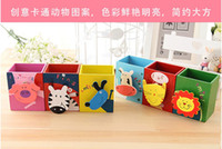 Wholesale Korean creative stationery Cute animal pen container with memo clip coloured drawing cartoon