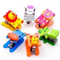 Wholesale Cartoon wooden stationery stapler Painted wooden animal mini stapler stationery office supplies cartoon creative gifts