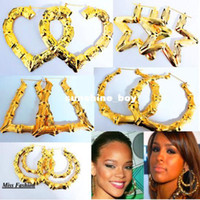 Wholesale Rihanna Basketball Wives Gold Tone Heart Bamboo Joint Hoop Earrings Jewelry Large hoop Earrings