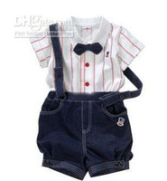 Boy Spring / Autumn  - boy's suits British gentleman Suspenders trousers Bow tie Stripe Short sleeve shirts baby suitsnd