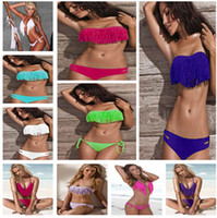 Women Bikinis Fringe Free Shipping Hot Sale Women Swimwear Sexy Lady Padded Boho Fringe Bandeau Top Dolly Bikini Set High Fashion Bathing Suit Brand New Swimsuit
