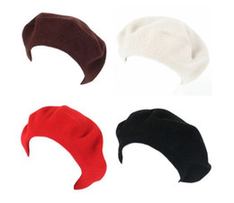 New Women Soft Wool Warm Women Felt French Beret Beanie Hat Cap Tam 24pcs lot Free shipping