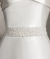 Wholesale Elegant Handmade Satin Pearls Fully Beaded Bridal Wedding Dress Sashes Belts Wedding Accessories