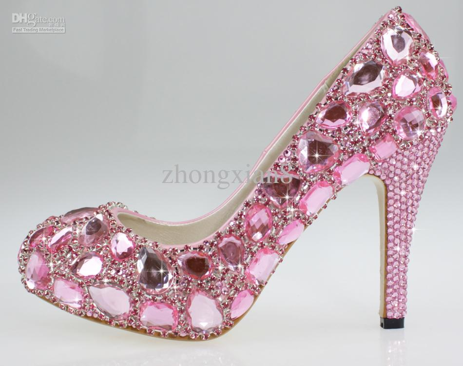 New Fashion 4 Inch Heel Pink Crystal Prom Designer Bridal Shoes