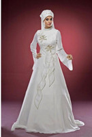 A-Line Model Pictures High Collar wholesale --2014 Fashion Muslim Long sleeve High Collar Transparent sleeves Court Chiffon embroidery A-Line Wedding Dresses .A020