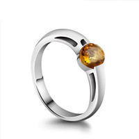 Solitaire Ring South American Women's Free Shipping Brazil Quarte Citrine 925 sterling silver pure Ring Yellow gem retro female Solitaire Ring