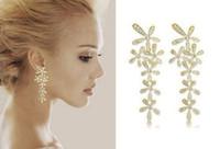 Dangle & Chandelier White Bohemian New jewelry fashion gold flower full rhinestone ultra long earrings crystal women