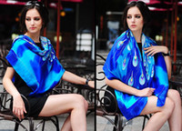 Wholesale Brilliant blue peacock hand painted Art women silk scarves cm Square