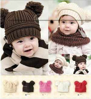 Wholesale Hot sale Fashion baby winter hat baby Double ball Knitted cap baby hats children hat crochet animal hat T9966