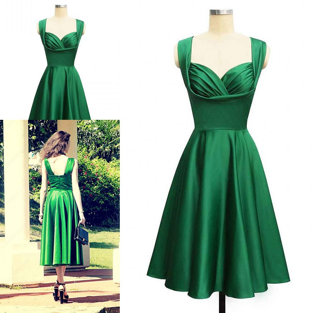 Gorgeous 1950's Style Emerald Green Tea Length Short Cocktail ...
