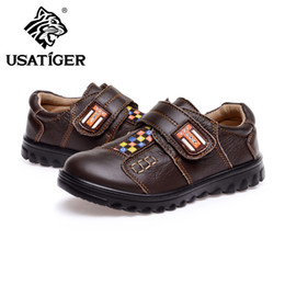 Wholesale 2013 USA Tiger Kids Leather Shoes Brown High Quality Full Grain Leather Uppers With Velcro Skid Resistant PU Outsole Concise Design Hot Sale