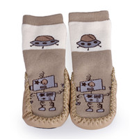 Wholesale Vogue Adorable Unisex Baby Non slip Footgear Brown Embroidering Leather Sole Skidproof Toddler Shoes Socks Home Sock DIU9