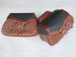 Wholesale Harley Leather Motorcycle Motorbike Touring Expandable Saddle Bag Saddlebag Travel Luggage Travel Bag Rust free Buckles and Rivets