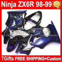 Free Customized+ 7gifts blue flames For KAWASAKI NINJA ZX6R Z...