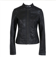 Wholesale Hot Sale Women Black Faux Leather Jacket Winter Jacket Fashion Leather Coat